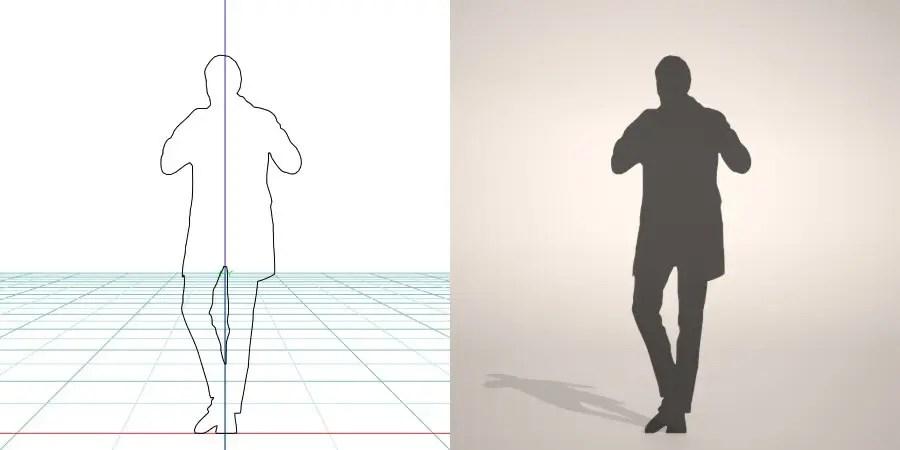 formZ 3D silhouette man ジャケット スーツ 背広 business suit コートを羽織る男性のシルエット