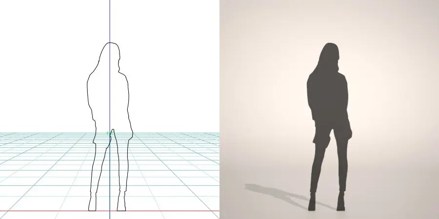 formZ 3D silhouette woman female lady 右手に財布を持った女性のシルエット
