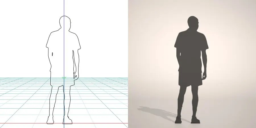 formZ 3D silhouette man ハーフパンツを穿いた男性のシルエット