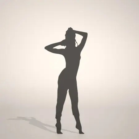 formZ 3D silhouette woman female lady gym フィットネス fitness stretch 運動 エクセサイズ exercise つま先で立つ女性のシルエット