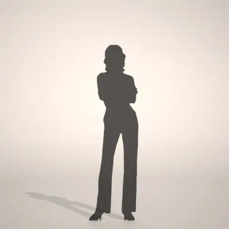 formZ 3D silhouette woman female lady 腕組みをして立つ女性のシルエット