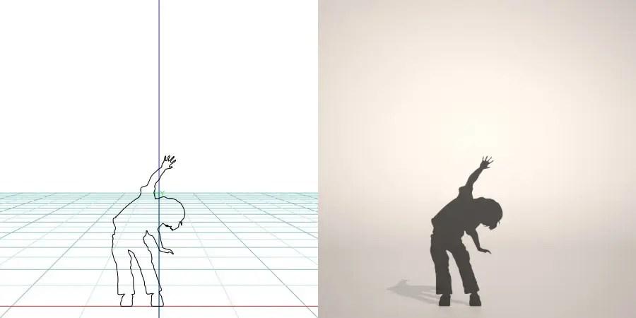 フリー素材 formZ 3D silhouette 子供 child 少年 boy 両手を広げてはしゃぐ男の子のシルエット