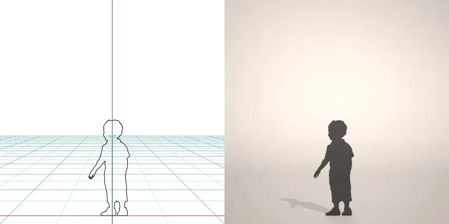 フリー素材 formZ 3D silhouette 子供 child 少年 boy スニーカーを履いた男の子のシルエット