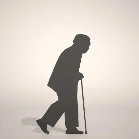 無料,商用可能,フリー素材,formZ,3D,silhouette,man,walk,杖をついて歩く老人のシルエット