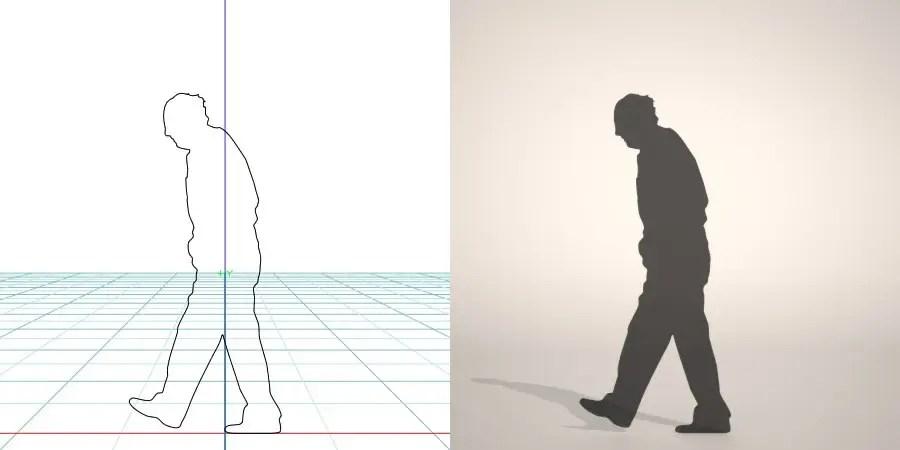 無料,商用可能,フリー素材,formZ,3D,silhouette,man,walk,歩く老人のシルエット