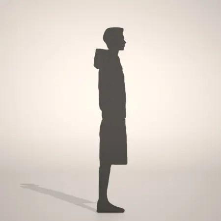 無料,商用可能,フリー素材,formZ,3D,silhouette,man,スウェットフルジップパーカーを着た男性のシルエット,ハーフパンツ,shorts