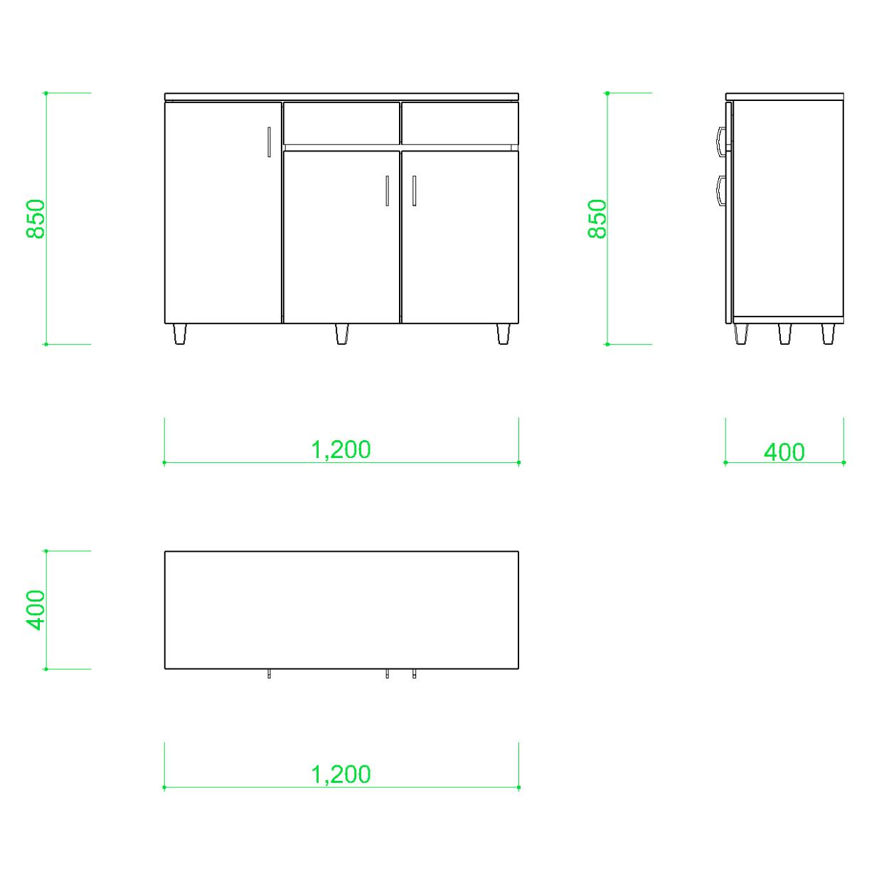 リビングボードの2DCAD部品丨インテリア 家具 寸法丨無料 商用可能 フリー素材 フリーデータ AUTOCAD DWG DXF
