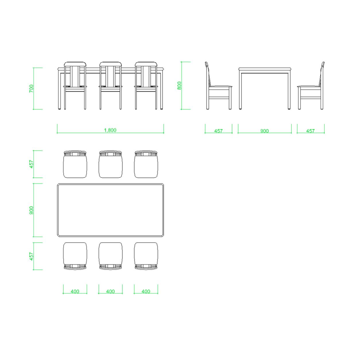 ダイニングテーブルと椅子6脚の2DCAD部品丨インテリア 家具 寸法丨無料 商用可能 フリー素材 フリーデータ AUTOCAD DWG DXF