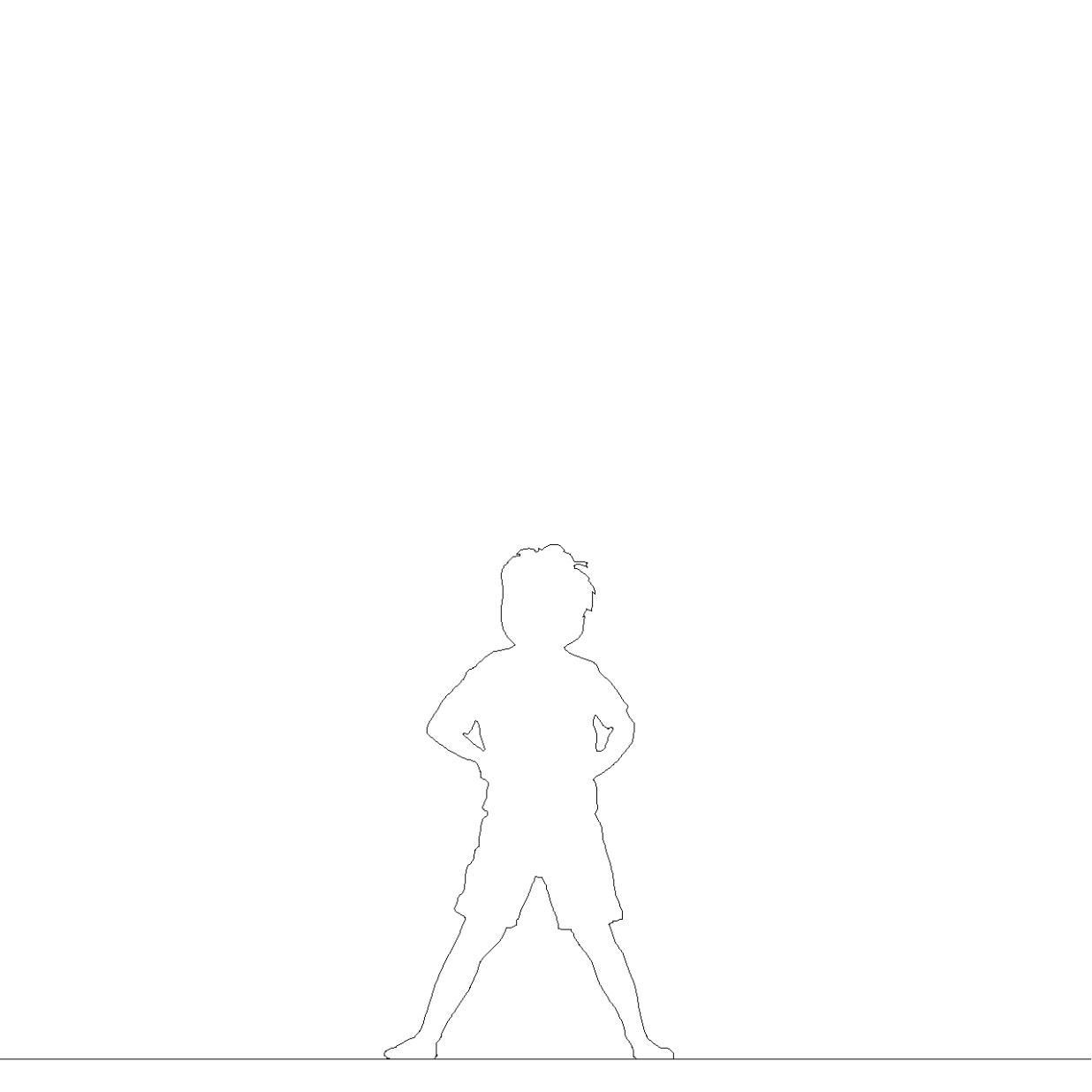 仁王立ちする 男の子丨シルエット 人間 子供丨無料 商用可能 フリー素材 フリーデータ AUTOCAD DWG DXF