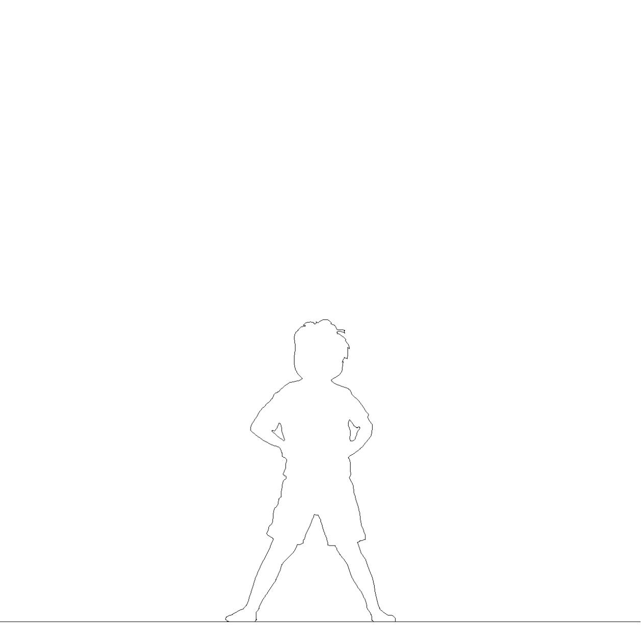 仁王立ちする 男の子の2DCAD部品丨シルエット 人間 子供丨無料 商用可能 フリー素材 フリーデータ AUTOCAD DWG DXF