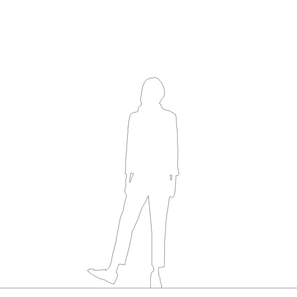 クロップドパンツを穿いた女性の2DCAD部品丨シルエット 人間 女性丨無料 商用可能 フリー素材 フリーデータ AUTOCAD DWG DXF