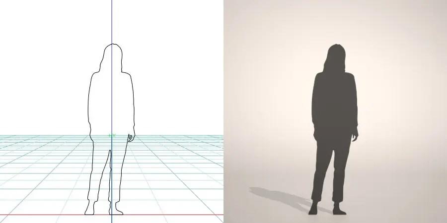 チノパンにセーターを着た女性の3D素材丨シルエット 人間 女性丨無料 商用可能 フリー素材 フリーデータ丨データ形式はformZ ・3ds・objファイルです