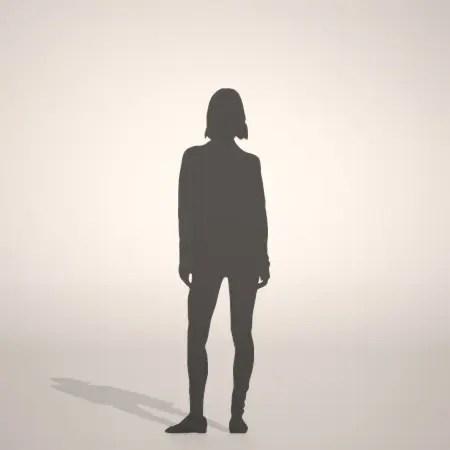 スキニーパンツにロングセーターを着た女性の3D素材丨シルエット 人間 女性丨無料 商用可能 フリー素材 フリーデータ丨データ形式はformZ ・3ds・objファイルです