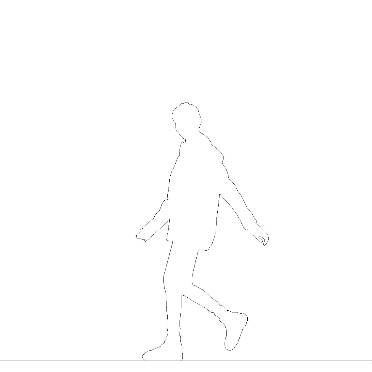 雨合羽を着た女性の2DCAD部品丨シルエット 人間 女性丨無料 商用可能 フリー素材 フリーデータ AUTOCAD DWG DXF