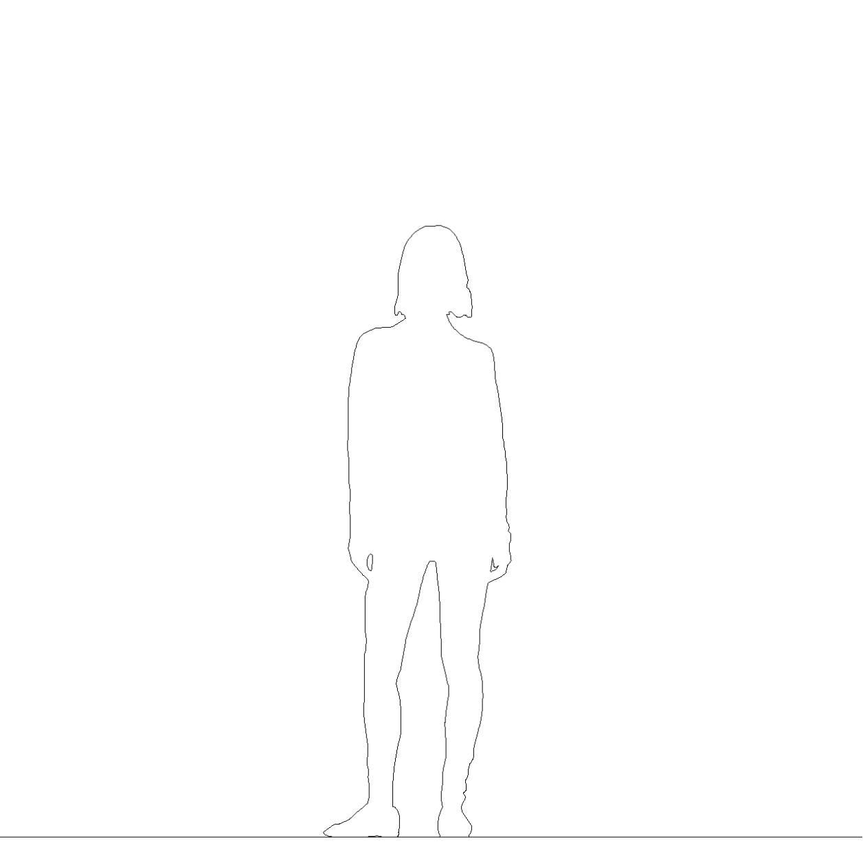 スキニーパンツにロングセーターを着た女性の2DCAD部品丨シルエット 人間 女性丨無料 商用可能 フリー素材 フリーデータ丨データ形式はAUTOCAD DWG・DXFファイルです