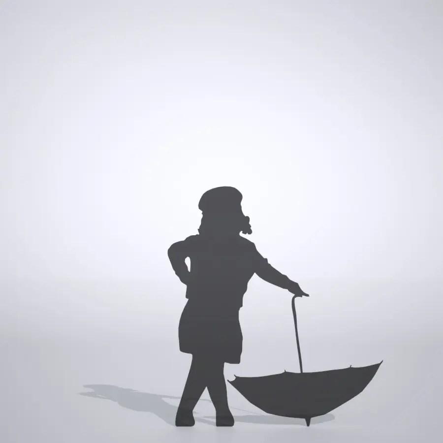 ひらいた傘でポーズをとる女の子の3DCAD素材丨シルエット 人間 子供丨無料 商用可能 フリー素材 フリーデータ丨データ形式はformZ ・3ds・objファイルです
