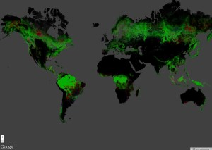 (nearly) Global map of forest change based on Landsat imagery (Hansen et al., 2013). Data processed using Google Earth Engne