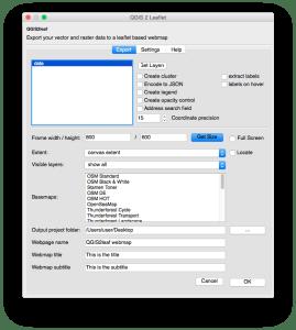Export menu of QGIS2leaf