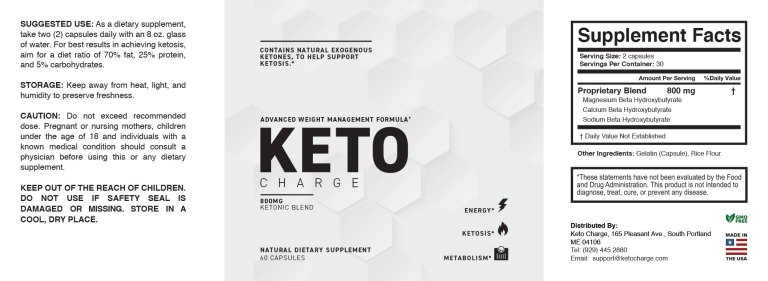 Keto Charge Supplement Facts