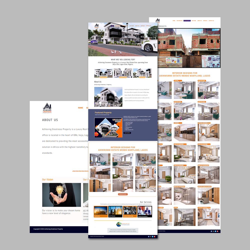 Website Design and Development for Achievingreatness Properties