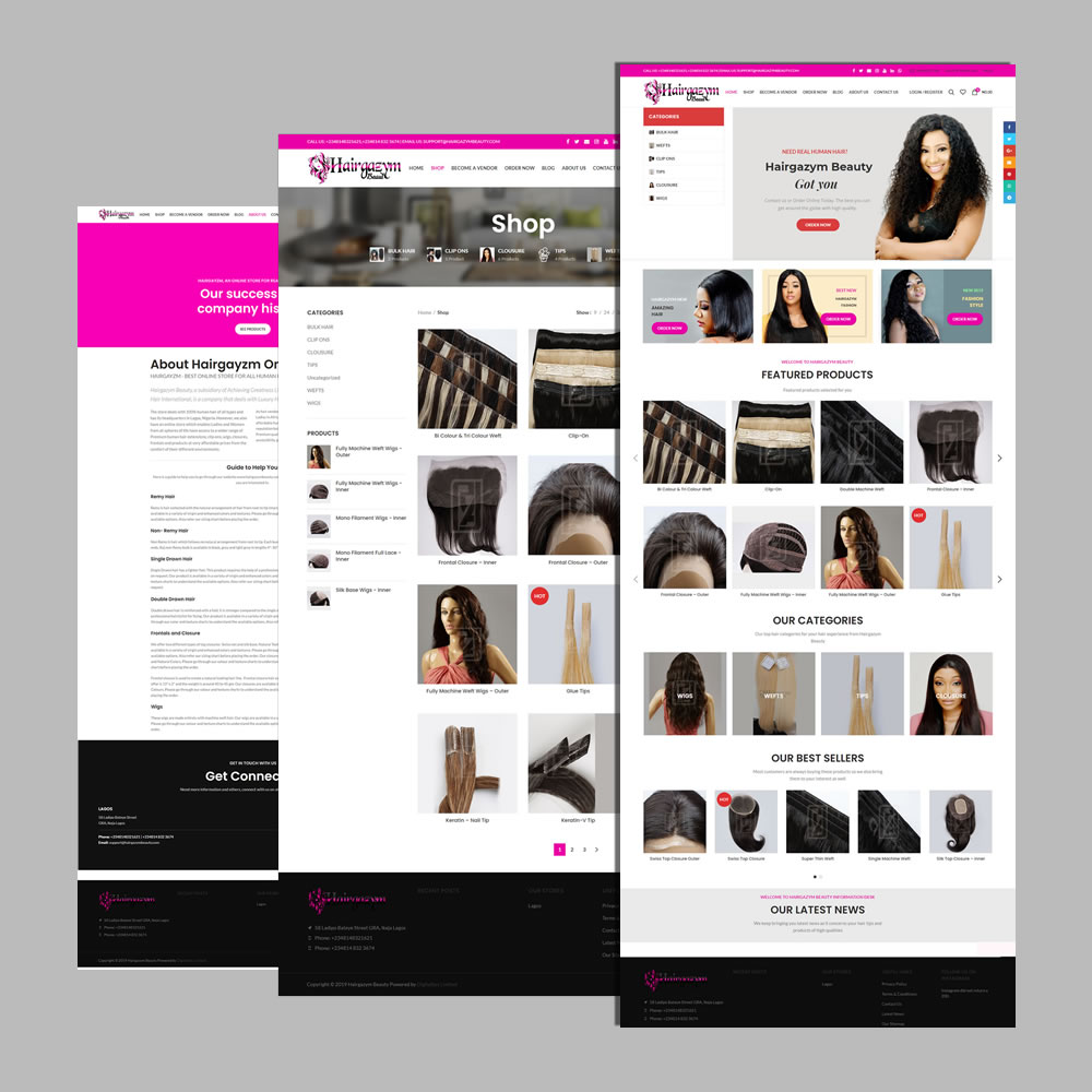 eCommerce Website Design and Development for Hairgazym Beauty