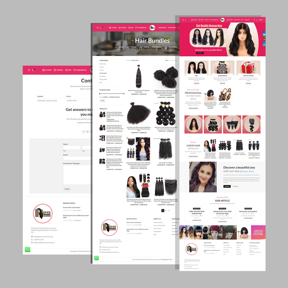 eCommerce Website Design and Development for Ronbeautyamanzement