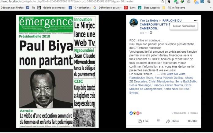 Paul Biya Choisit Twitter pour annoncer sa candidature à l'élection présidentielle 2018