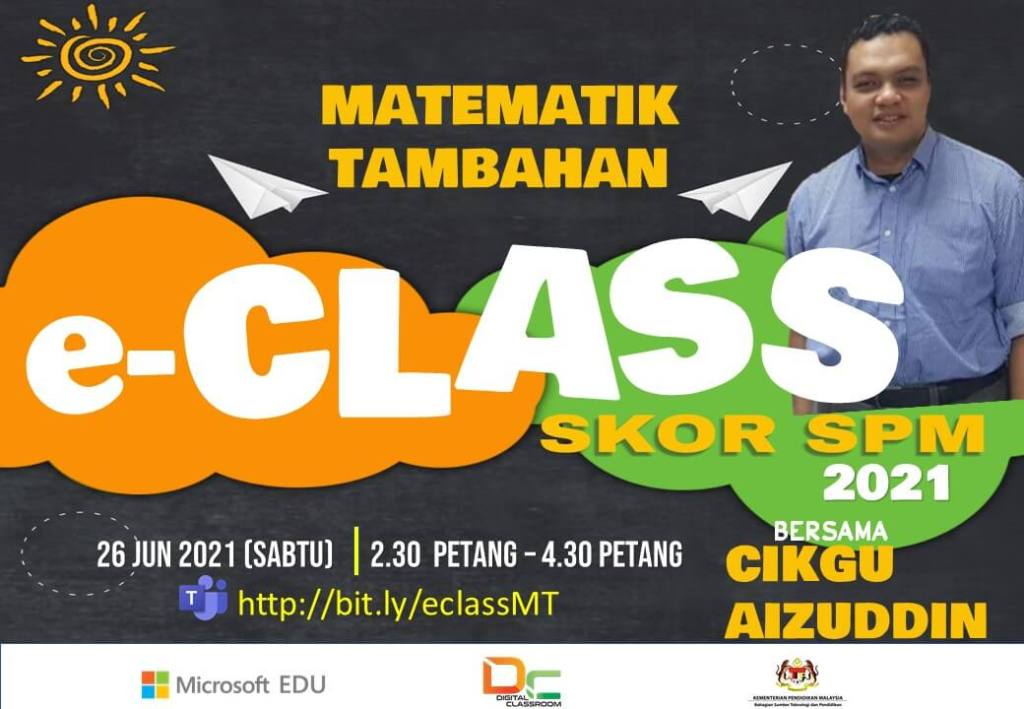 Rakaman Youtube : Matematik Tambahan SPM bersama-sama Cikgu Aizuddin Petang Sabtu ini.