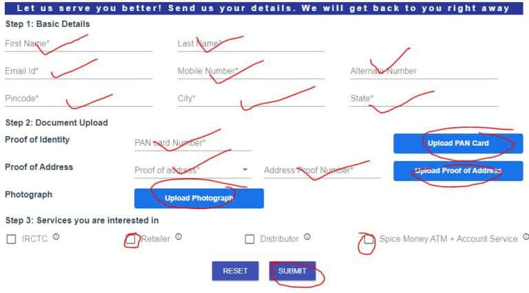 Spice money registration form