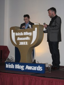 Damien Mulley and Rick O'Shay at podium. These are the two main men behind the blog awards.