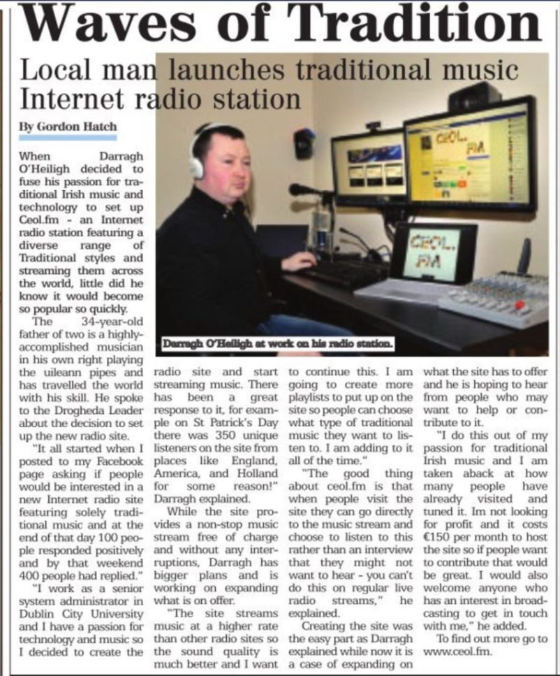 A picture of the article taken from the Drogheda Leader.