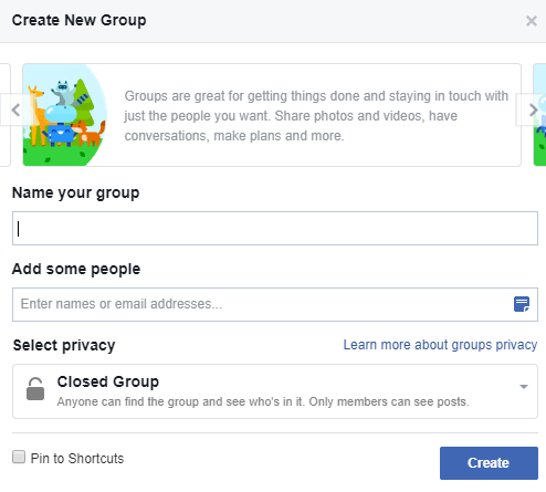 How to start a facebook group - create group