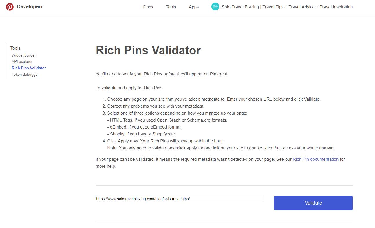 Rich Pins Validator