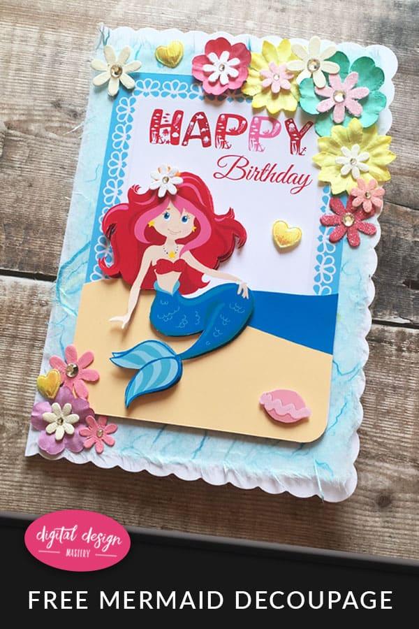 Mermaid Printable & Card Tutorial
