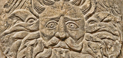 Gorgon/Gordon/Oceanus discovered at the Roman Baths at Bath. Image courtesy of Brian Snelson.