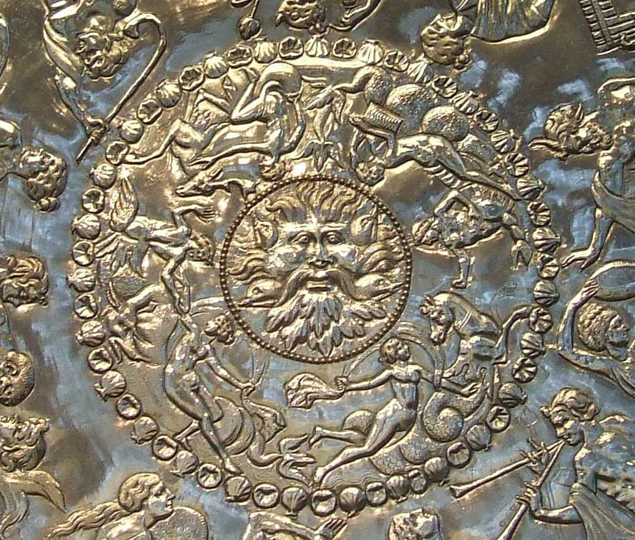 The Mildenhall Treasure Great Dish, with Oceanus as the centrepiece. Image courtesy of Wikipedia.
