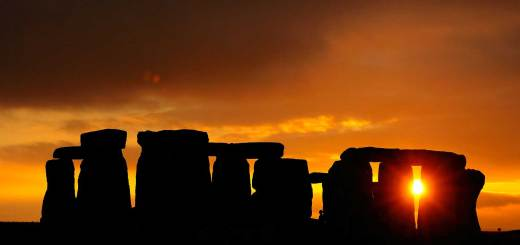 Orange sunset, Stonehenge.