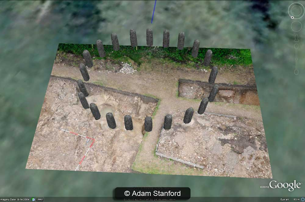 Aerial shot of the Bluestonehenge excavation with digital stones in place - Image © Adam Stanford - Model by Henry Rothwell.