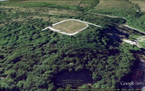 Burrington Camp from the South-South-East. White graphic represents the position and extent of the ramparts.