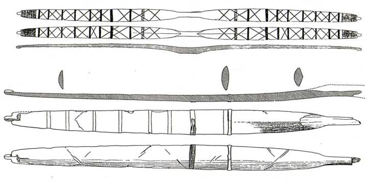Fig.1 - The Meare Heath Bow: (bottom) the remains of the bow; (top) a reconstruction drawing showing how the bow may have looked.