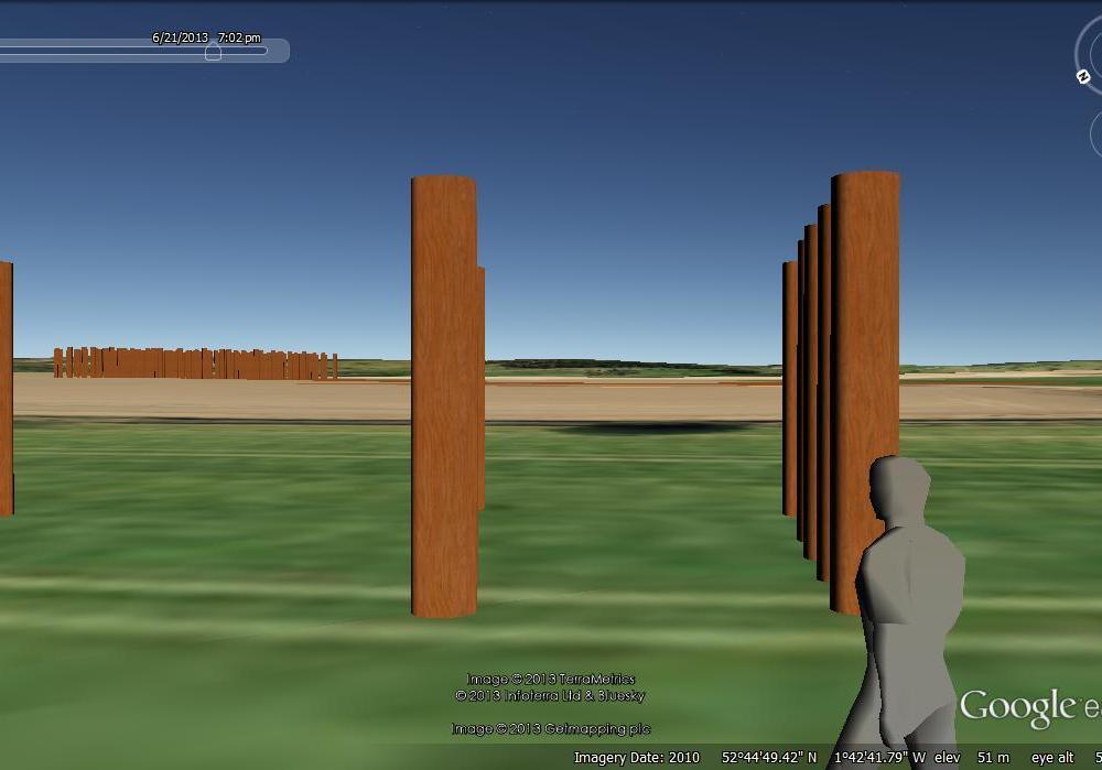 The Catholme 'Sunburst' with 'Woodhenge' on the horizon.