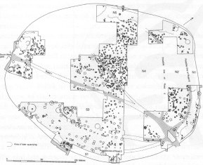 Image 13 - Simplified plan of the Danebury settlement in the Early period, 550-450 BC.