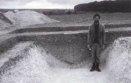 Image 3 - Dorset Cursus - Richard Bradley standing in the Northern ditch, which he uncovered in the Chalk Pit Field in 1984. Image © Martin Green.