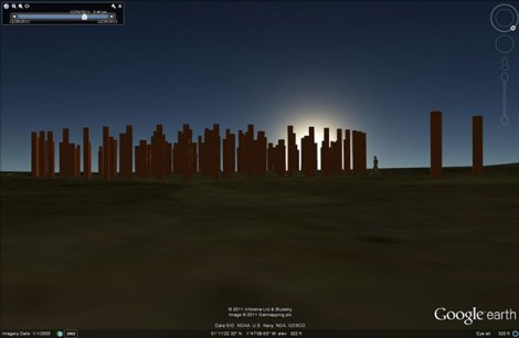 Woodhenge exterior, dawn.