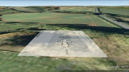 Notgrove Long Barrow plan in Google Earth. Illustration by Vanessa Constant.