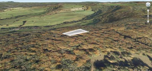 Randwick Long Barrow position in Google Earth.
