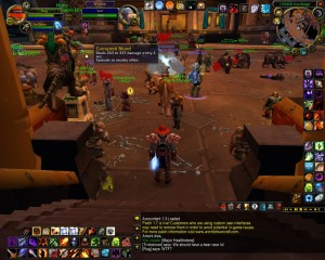 The Corrupted Blood debuff being spread amongst characters in Ironforge, one of World of Warcraft′s in-game cities. © Blizzard Entertainment.