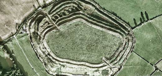 Old Oswestry hillfort - WWI trench lines visible. Image © Google/Getmapping.