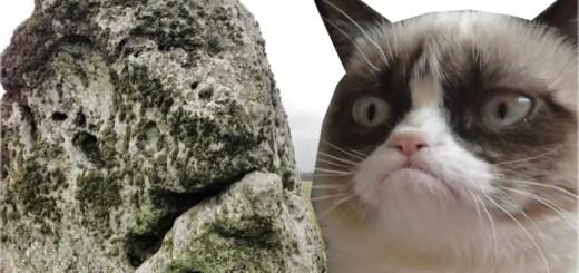 Grumpy Cat/Stonehenge. Stonehenge image © Lawrence Shaw. Grumpy Cat Image.