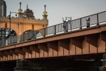 The Smithfield Street Bridge is the most heavily walked pedestrian bridge in Pittsburgh. July 2015.